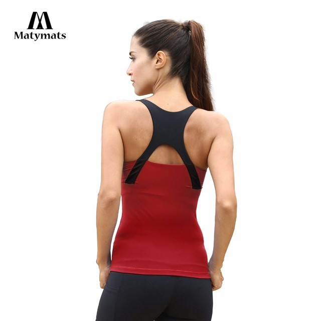 9881df9690c Matymats Yoga Vest Women s Sleeveless Fitness Running Jogging Tops Quick Dry  Breathable Gym Workout Sport Shirt