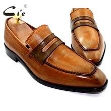 CIE на заказ Для мужчин's, из телячьей кожи, кожаная подошва; дышащая непромокаемая коричневый Пенни патиной; мужские туфли из натуральной кожи. Лоферы 20