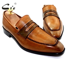 cie Free Shipping Bespoke Custom Men's Calfskin Leather Outsole Breathable Boat Brown Penny Patina Leather shoe No.Loafer 20