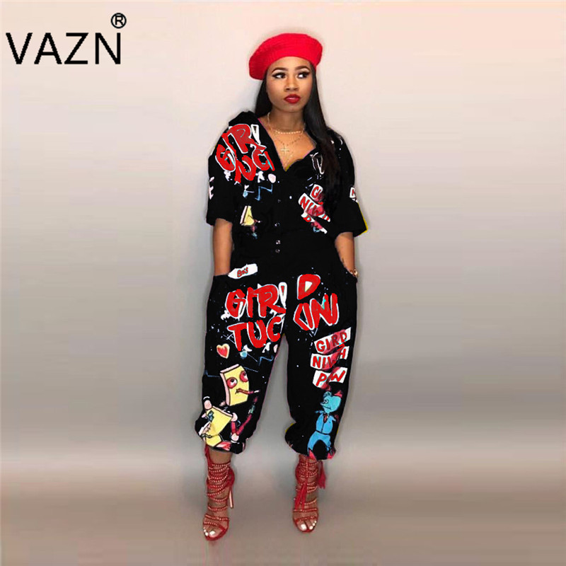 VAZN 2108 Special Style Brand Casual Fashion Women Long Jumpsuits Letter Half Sleeve Autumn Loose High Street Romper LD8103