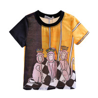 New Style Black and Yellow Boys T shirt Monkey Printing Summer Little Kids Short Tops Baby