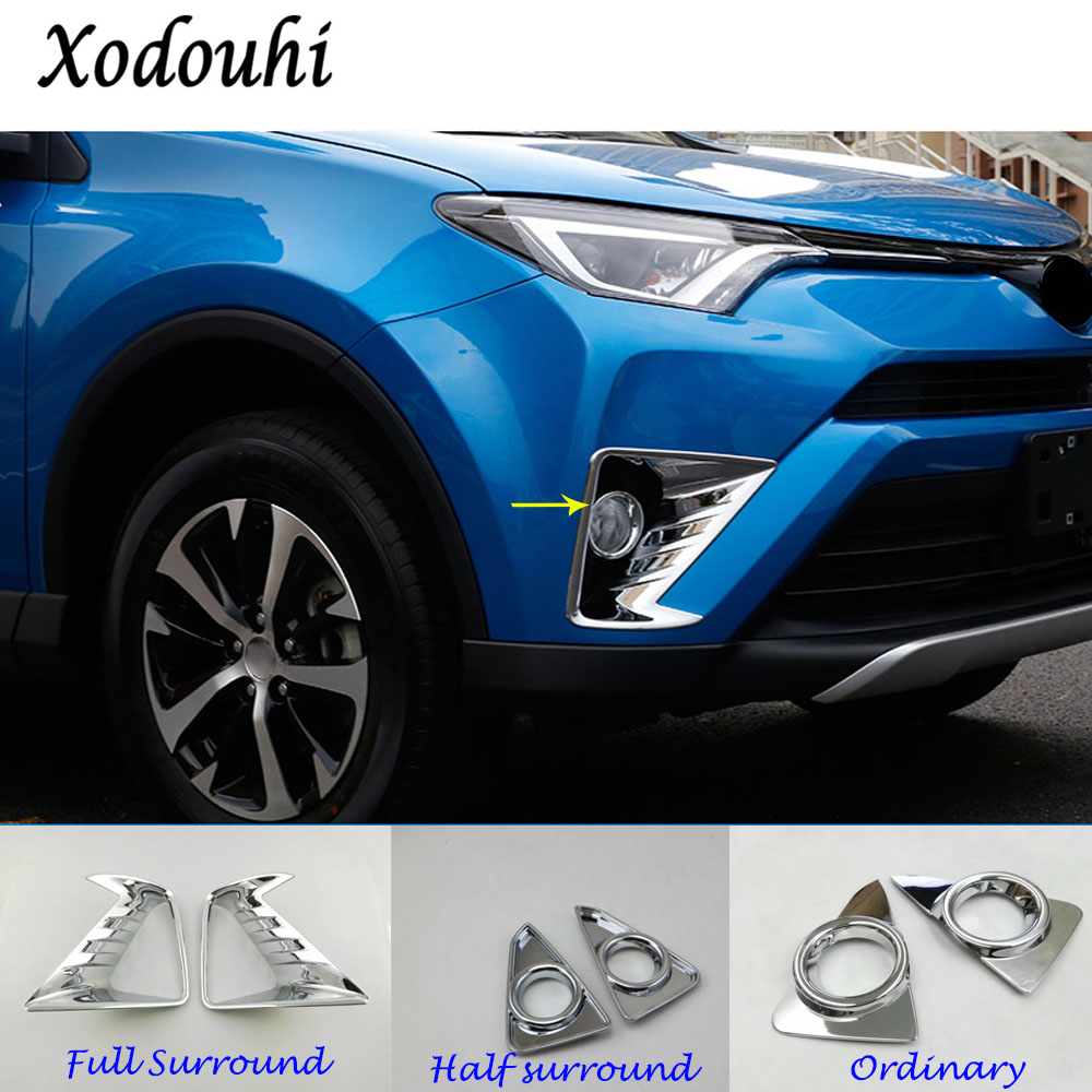 For Toyota RAV4 2016 2017 2018 car body head front fog light lamp frame stick ABS Chrome cover trim parts exterior Molding part
