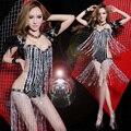 Queen Gorgeous Plumas Chales Borlas Lentejuelas Buzos Moda Sexy Party Dancer DS Rendimiento Traje de la Etapa del Club Nocturno de Jazz