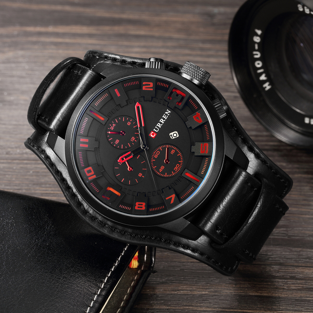 HTB16E6HOhYaK1RjSZFnq6y80pXa4 CURREN Top Brand Luxury Men Watches Male Fashion & Casual Sport Military Clock Leather Strap Quartz Business Men Watch Gift 8225