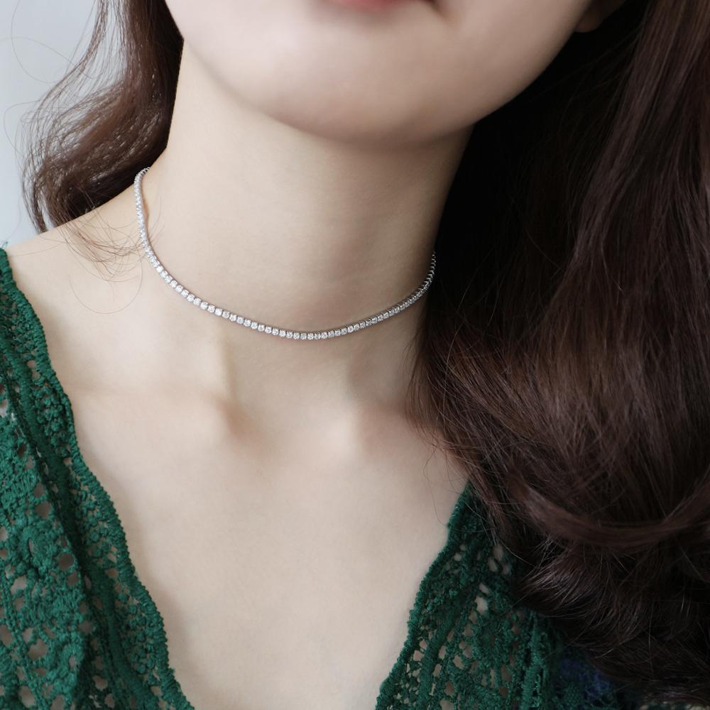 30CM+7CM 100% Authentic 925 Sterling Silver Zirconia AAAA+ Tennis Choker Short Necklace FINE Jewelry TLX454