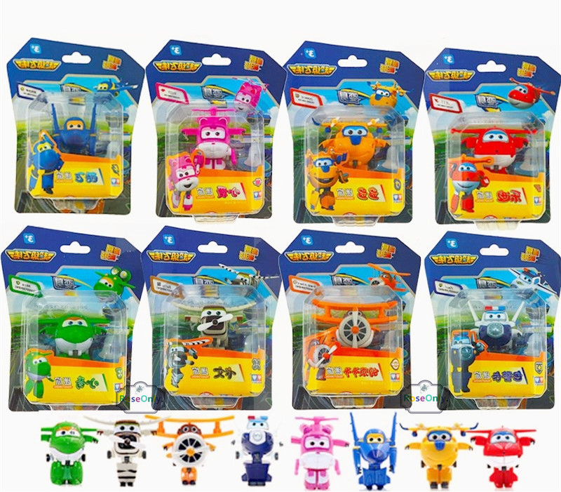 8PCS/Lot Super Wings Mini Planes Model Airplane Transformation Robot Brinquedos Action Figures Toys baby toys For Christmas gift meng badi 1pcs lot transformation toys mini robots car action figures toys brinquedos kids toys gift