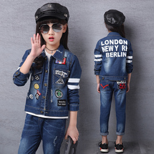 2018 Autumn Newest Girls Clothes denim Jacket+T shirt + Jeans 3 Pcs Set Fashion embroider logo  Kids Coat for 4-15Year