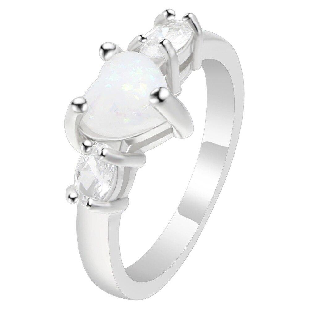 Hainon элегантный сердце покроя Rainbow опал кольцо новые модные белые CZ Кристалл Огненный опал Свадебные украшения Обручение Обещание Кольца