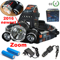 LED Headlight  6000LM CREE XM-L T6 LED Headlamp Zoomable Head Light Outdoor Lights + 2* 18650 Battery + Charger + Car Charger