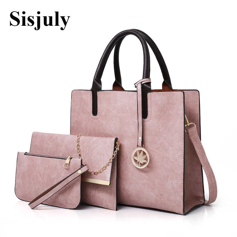 ec4e5dc3dc3 3Pcs/Sets Women Handbags Leather Shoulder Bags Female Large Capacity ...