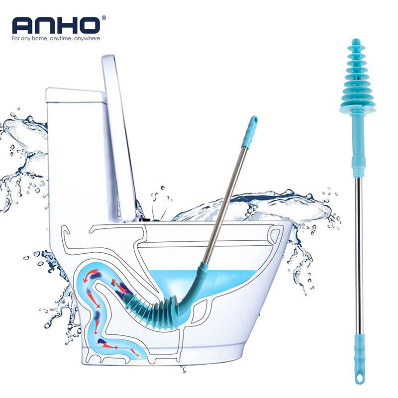 ANHO Toilet Plunger Long-handled Flexible Bathroom Stainless Steel Handle with Wall Hook Dredge Cleaned Sewer Pipe Household Too