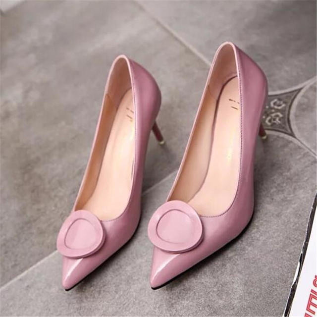 Women 's shoes 2016 spring simple solid work shoes simple high - heeled shoes with shallow mouth banquet shoes KM-03