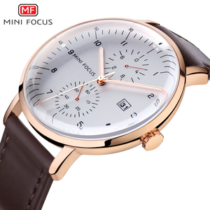 MINIFOCUS-relojes de lujo para hombre, reloj masculino de pulsera con esfera grande de oro rosa, Quart, calendario, resistente al agua, cronógrafo