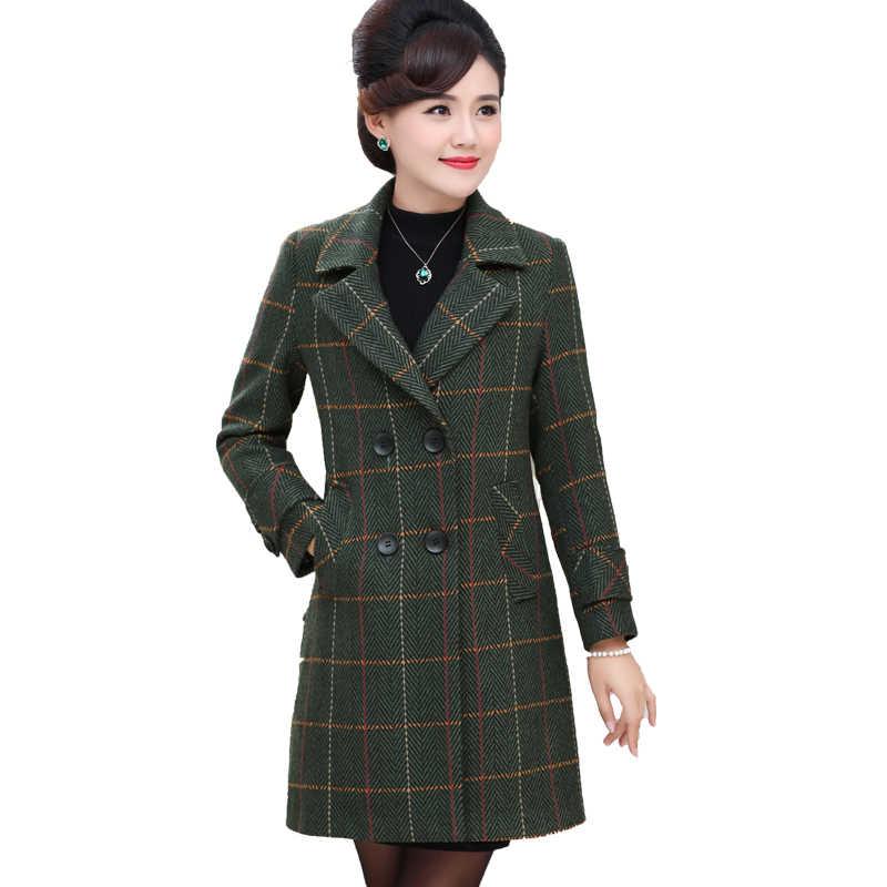 Весна и осень Новый среднего возраста женщин плед шерстяное пальто с длинным