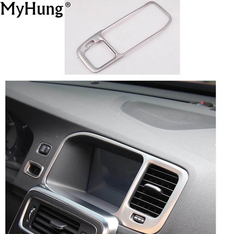 Car-Styling Navigation Frame Decoration Cover Trim Stainless Steel Strip Interior Molding Sequins 3D Sticker For Volvo S60 V60