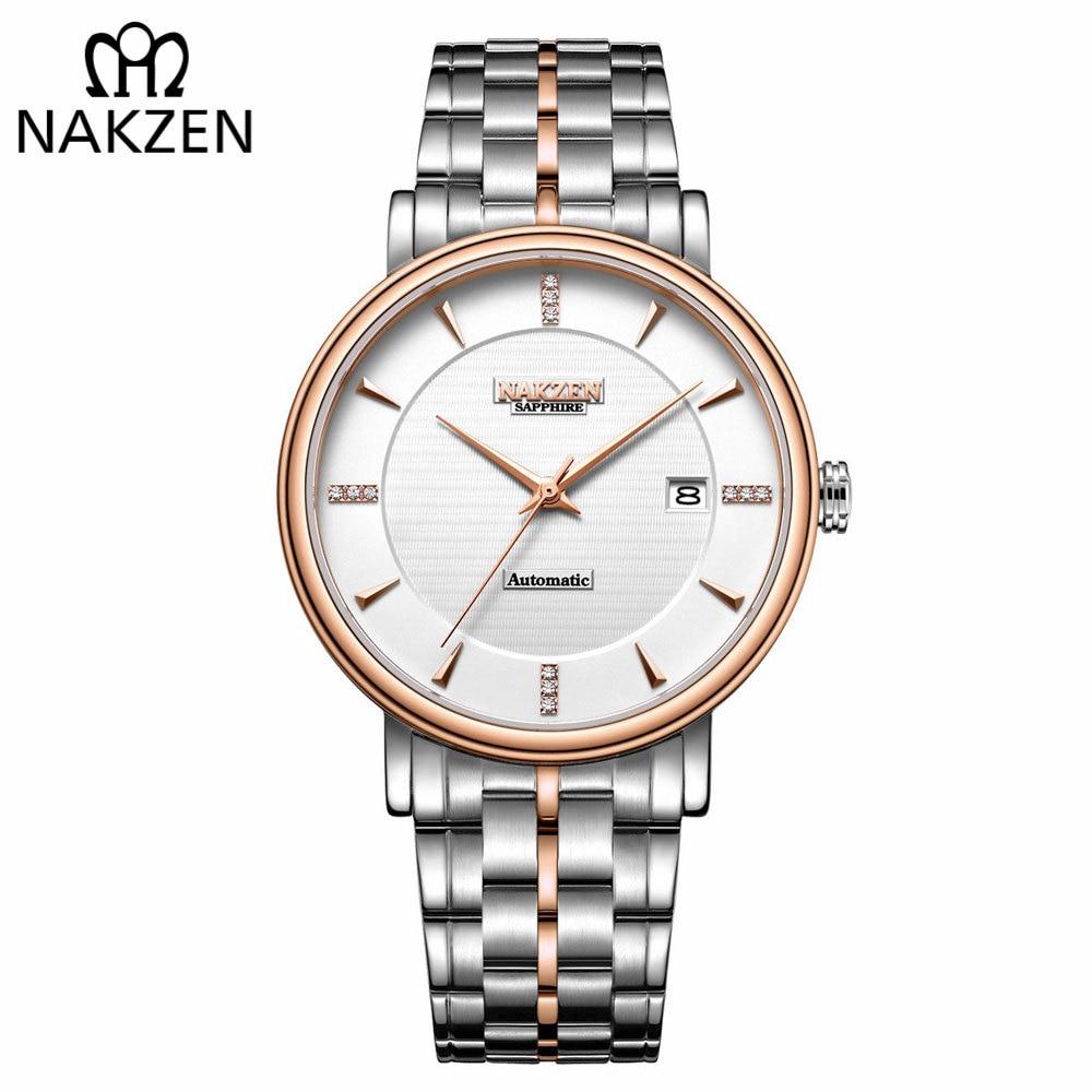 5bb938cad1a NAKZEN Negócio Relógio de Pulso Dos Homens Relógio Automático Mecânico Masculino  Relógios Relógio De Diamantes Marca