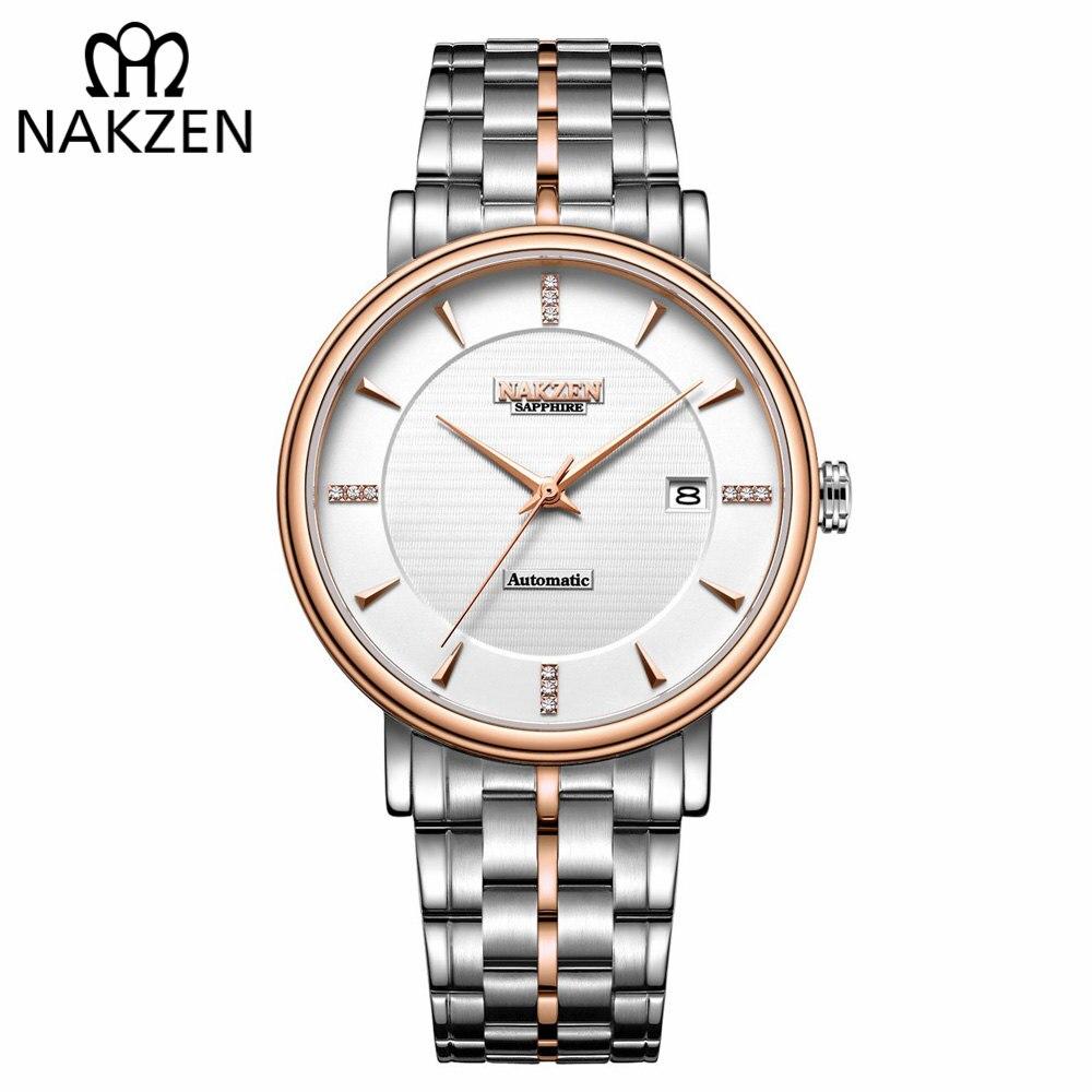 NAKZEN Hommes D'affaires Montre-Bracelet Marque De Luxe Diamant Montre Automatique Mécanique Hommes Montres Horloge Relogio Masculino Miyota 9015