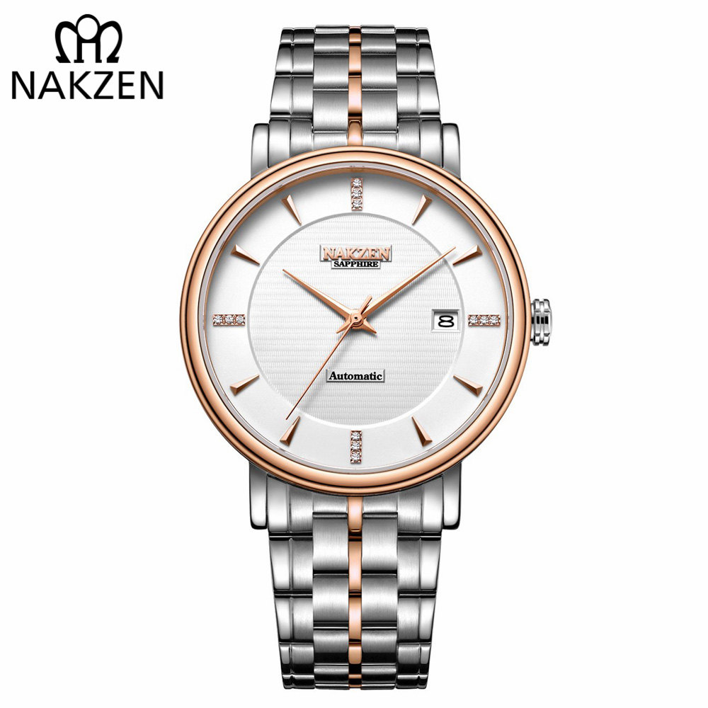 NAKZEN Men Business Wristwatch Brand Luxury Diamond Watch Automatic Mechanical Male Watches Clock Relogio Masculino Miyota 9015 nakzen diamond men watch luxury brand sapphire watches mens stainless steel black gold wristwatch male clock relogio masculino
