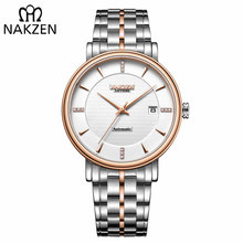 NAKZEN Для мужчин Бизнес наручные часы бренда класса люкс Diamond Watch Automatic механические часы мужские часы Relogio Masculino Miyota 9015