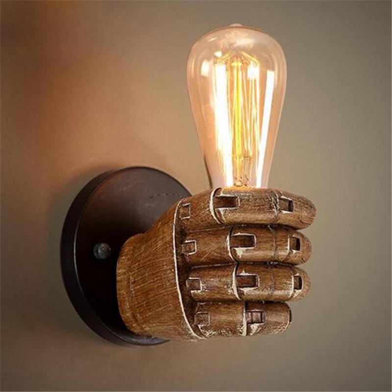 ФОТО Lamp Light Loft Vintage Fist Shape Resin Wall Lights E27 Edison Bulb Bar Coffe Shop Livingroom Industrial Warehouse Wall Lamps
