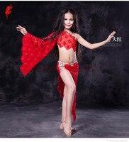 Роскошные Дети танец живота Производительность для девочек танец живота одежда камни кружева одного рукава топ + юбка 2 шт. танец живота кос