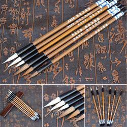 6 sztuk/zestaw tradycyjny chiński pędzel do pisania es białe chmury bambusowy wilk włosów pędzel do pisania na obraz z kaligrafią praktyka 921 Pędzle do kaligrafii Artykuły biurowe i szkolne -