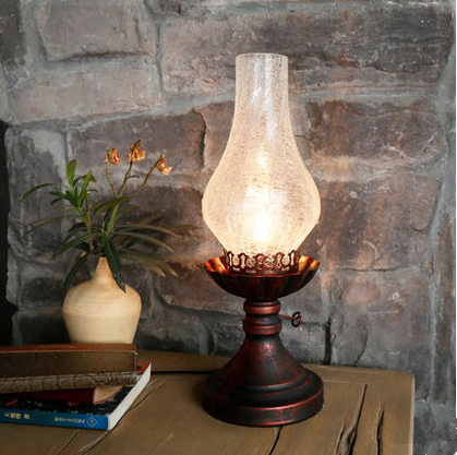 Фотография European vintage brown crackle glass Table Lamps Old-fashioned Kerosene lamp design iron lamp for bedside&foyer&table&bar LDK022