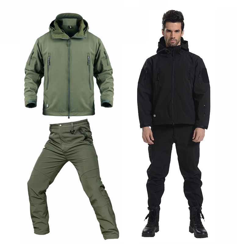 Winter Fleece Softshell Waterproof Camouflage Hiking Jackets Men Trousers Soft shell Work Trek Coat Trekking Pants