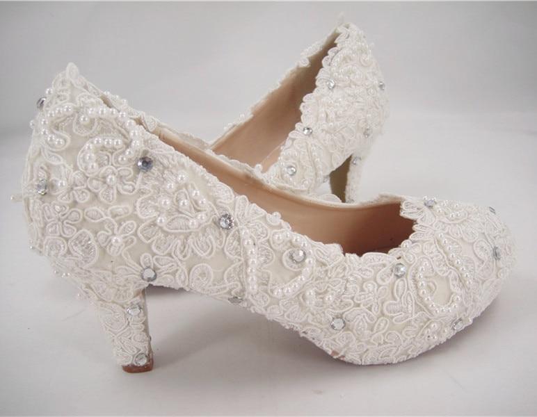 Wedding High Heels Ivory: Women's Lace Bridal Shoes/High Heel Wedding Shoes/Ivory
