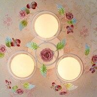 В европейском стиле сад для гостиной Романтический рестораны белое Кованое железо розовый керамический цветы стеклянный абажур потолочны