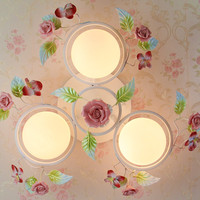European style garden living room Romantic Restaurants white wrought iron pink ceramic flowers glass lampshade Ceiling Lamp c162