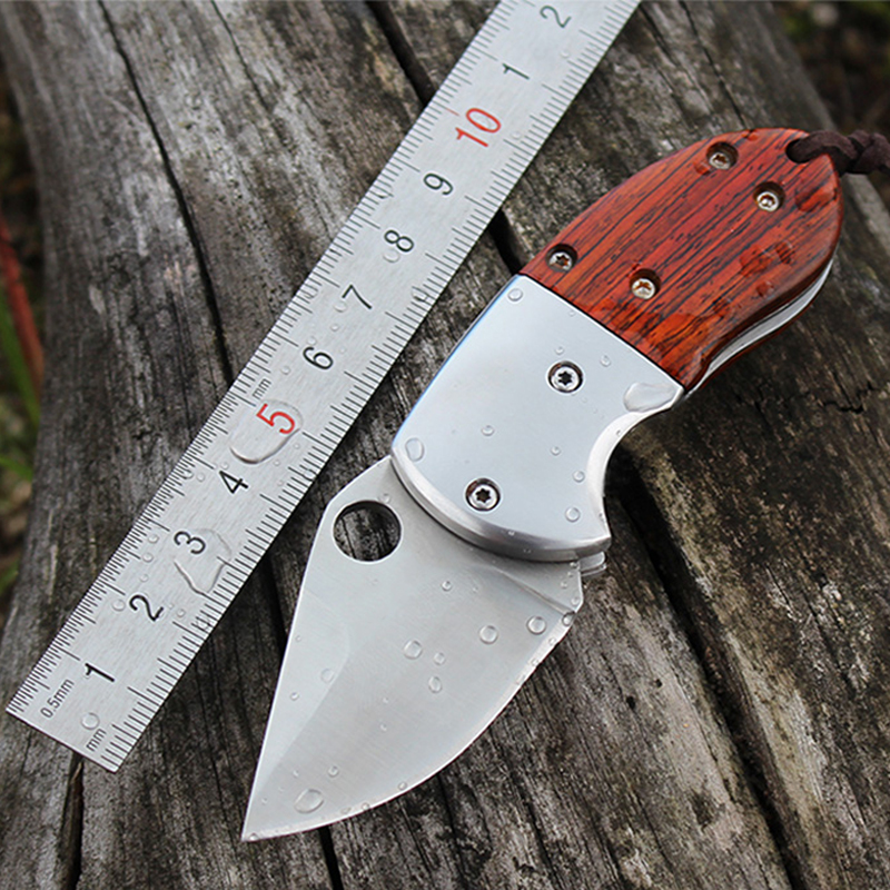 D2 HIGHT QUALITY MINI Folding Blade font b Knife b font Wood Handle font b Tactical