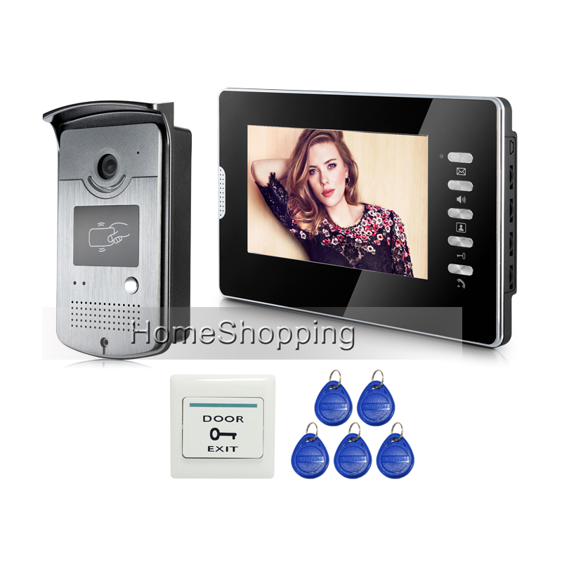 Brand New Wired 7 TFT Color Screen Video Door Phone Intercom System + Waterproof RFID Access Doorbell Camera FREE SHIPPING