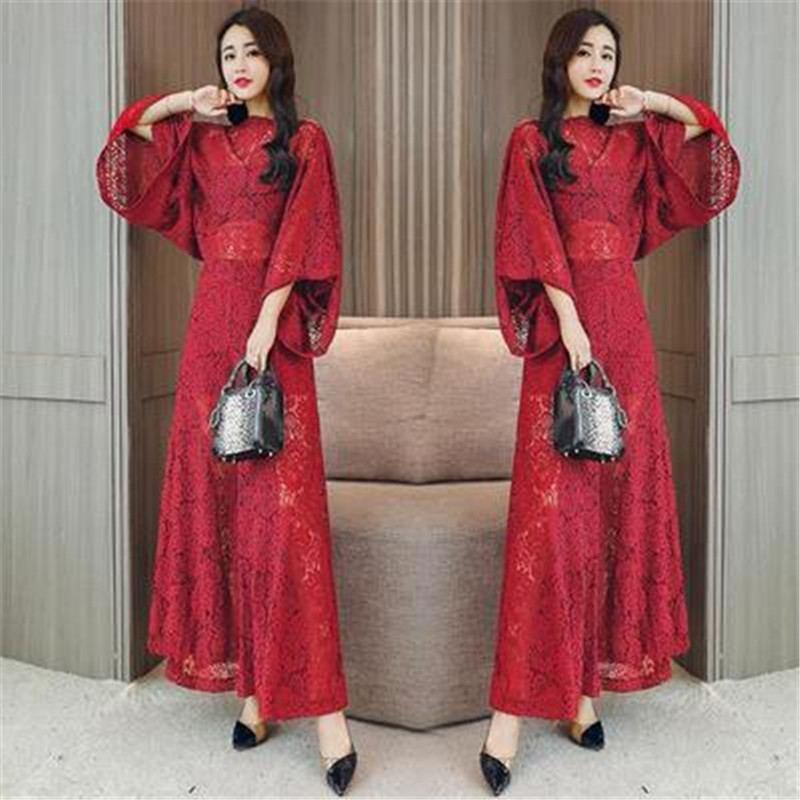 2019 Summer Women Vintage Hollow Out Lace Sets Female Elegant Batwing Sleeve Solid Shirt+Elastic Waist Wide Leg Pant Suits Z314 5