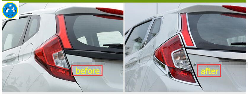 Exterior ! 4 Pcs For Honda Fit Jazz 2014 2015 2016 ABS Rear Tail Light Lamp Molding Cover Trim