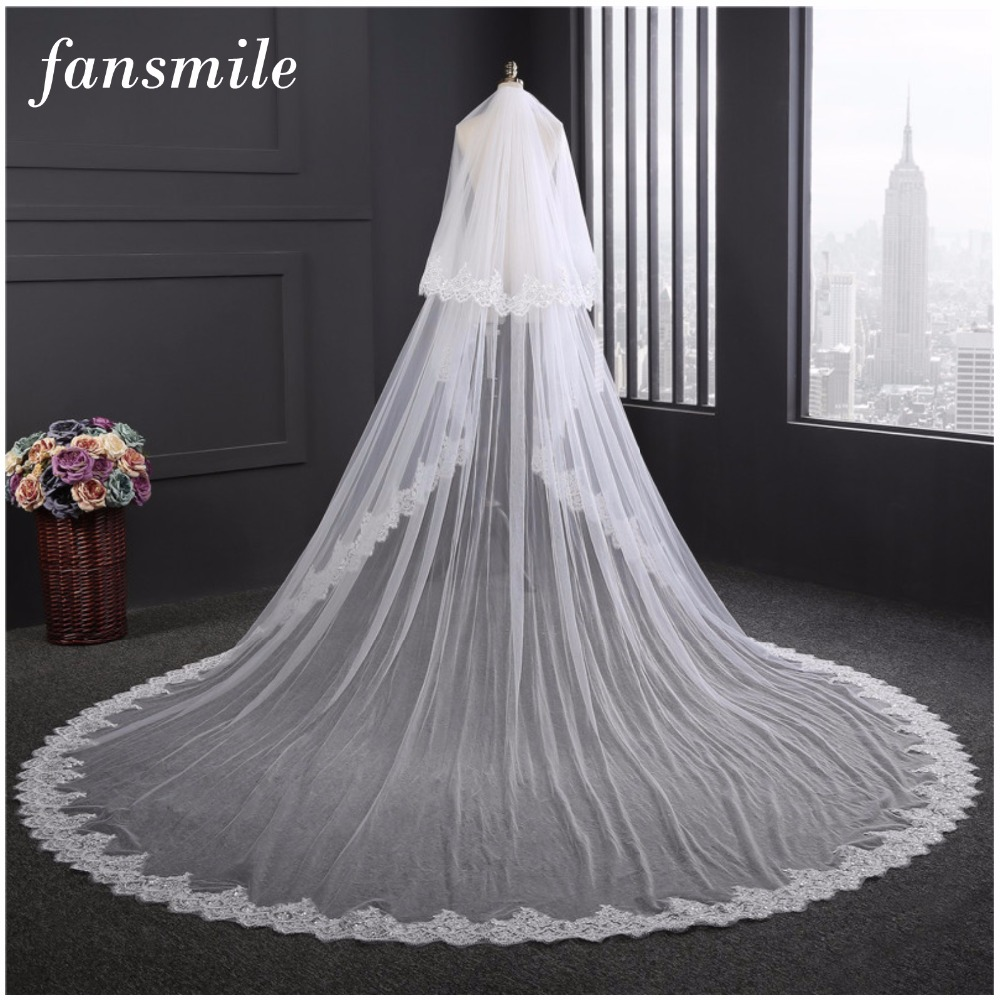 Fansmile 3.5 M White Ivory Cathedral Wedding Veils Long Lace Edge Bridal Veil With Comb Wedding Accessories Bride Veil FSM-443V