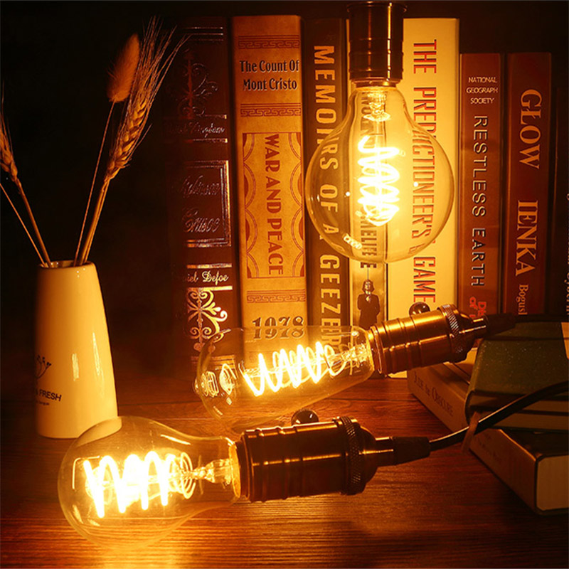 Bombilla LED Edison Retro E27 ST64 G95 A60 110V 220V lámpara de filamento LED suave 3W bombilla espiral diseño amarillo cálido Guirnalda de luces 100LED de 10M para decoración de Navidad/boda/fiesta AC 110V 220V lámpara led impermeable para exteriores 9 colores led