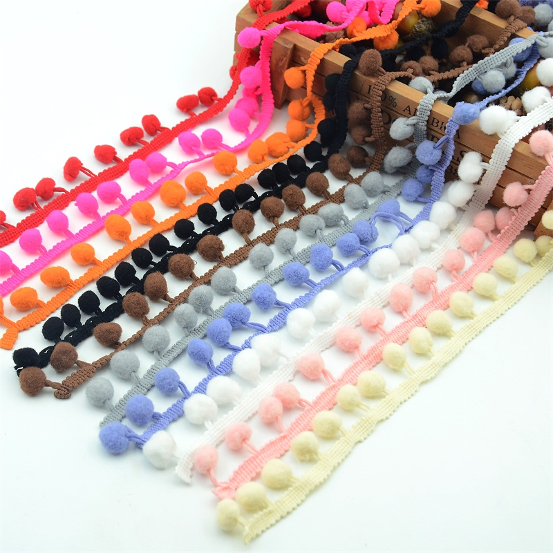 5/20 YardS Pom Pom Lace Trim Ball 10mm Pearl Pompom Fringe For Lace Knitted Fabric Handmade Craft Accessories Ribbon Sewing 8Z
