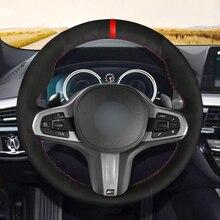 Hand sewing custom Black Suede Red Mark Car Steering Wheel Cover for BMW G30 525i 530i 530d M550i M550d 2017 2018 G32 630i 640i