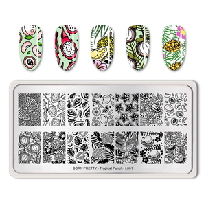 Image 3 - BORN PRETTY Summer Fruit Nail Art Stamping Template tropical Pattern Rectangle Image Plate Stamping Polish Needed