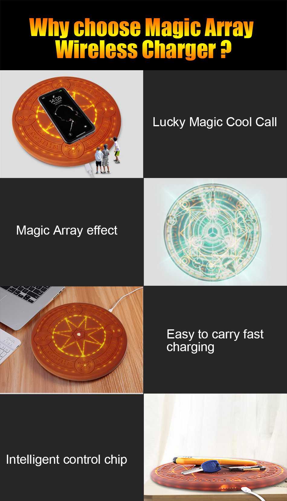 10W Magic Array Wireless Charger Universal Circle Qi Wireless Fast Charger Charging Pad For iPhone X XS Max XR Samsung with Box (8)