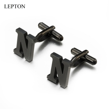 Lepton Stainless steel Letters N Cufflinks for Mens Black & Silver Color Letters N of alphabet Cuff links Men Shirt Cuffs Button igame letters cufflinks silver color fashion english letters design 26 letters copper material free shipping