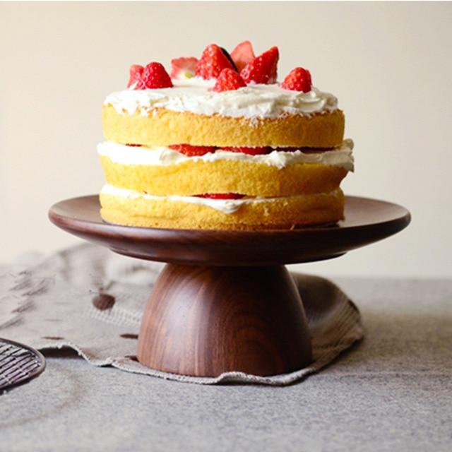 Homestia Walnut Wood Fruit Bowl Top Grade Cake Stand Tray Round