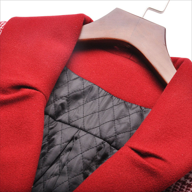 women's clothes red plaid lantern sleeves over the knee long wool coat Autumn and winter coat ladies down parka down jacket 2