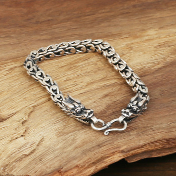 S925 men's fashion wholesale silver jewelry handmade silver 6m personality retro double tap Dragon Bracelet