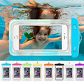 Universal fluorescent waterproof phone bag transparent touchable pouch beach Underwater phone Bag for galaxy s6 iphone 7 6s plus