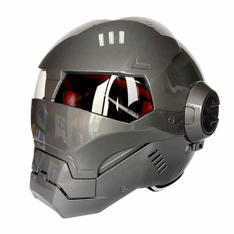 Masei военная машина серый мужской женский IRONMAN железный человек шлем мотоциклетный шлем половина шлем открытый шлем ABS шлем для мотокросса - Цвет: one