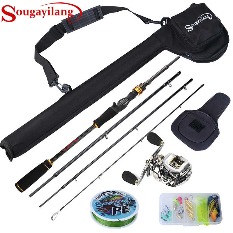 Sougayilang Cobra 1.8M 2.1M 11 + 1BB Baitcasting ตกปลา Reel Combo Fishing Gear Tackle ชุดเครื่องมือชุด
