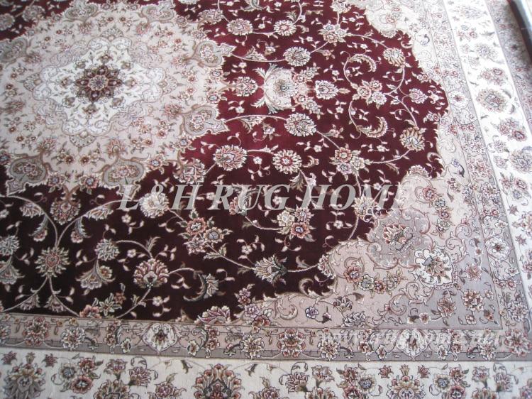 Brezplačna dostava 9'X12 '160 linijska ročno vezana volna in svila - Domači tekstil - Fotografija 6