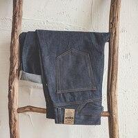 MADEN Men's Vintage High Rise Regular Straight Leg Fit Selvedge Denim Jeans